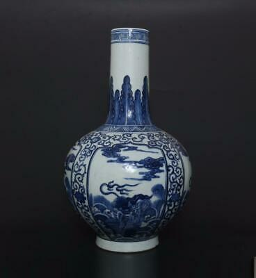 Superb Antique Chinese Porcelain Blue and White Vase With Kylin-40cm
