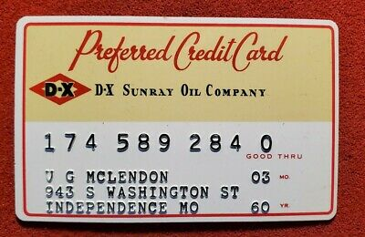 DX Sunray Oil Company Preferred Credit Card Exp 1960 ♡Free Shipping♡cc204♡
