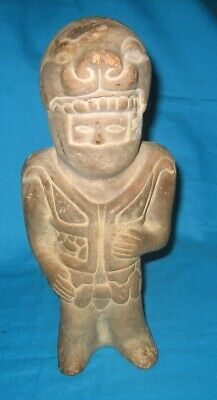 """Mayan, Aztec, Inca, Clay Statue With Panther Headdress..looks Like Astronaut 9"""""""