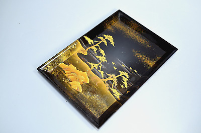 Antique Japanese Lacquer Pine Tree Gold Makie Tray Late Edo Period