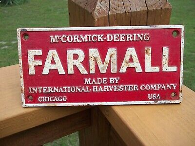 Old Cast Iron Mccormick Deering Farmall International Harvester Co Sign Chicago