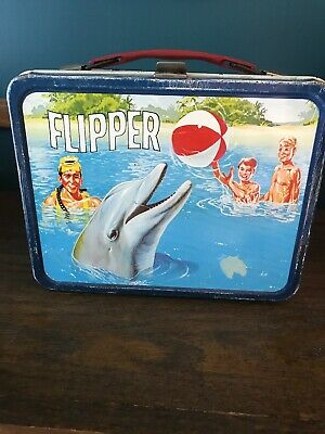 Vintage 1966 Flipper Metal Lunch Box and Thermos TV Show