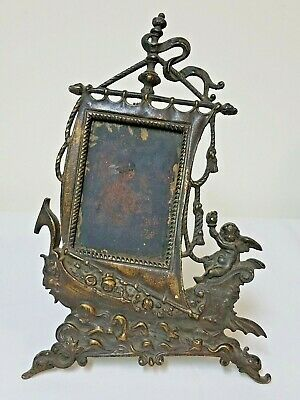 Antique VICTORIAN CAST IRON or BRONZE PICTURE FRAME Sailing Ship Cherub Gargoyle