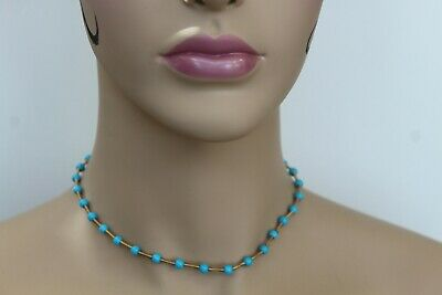 Cristina Ferrare 14k Gold Sleeping Beauty Turquoise Choker Necklace