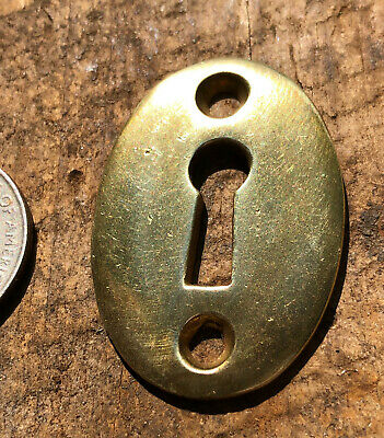 Antique Oval Solid Brass Key Hole Cover ~ 1 5/8 x 1 1/8