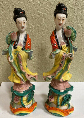 """Vintage Pair Of Chinese Porcelain Kwan Yin Figurines Signed """"Shuenn Churng"""""""