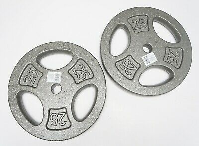 "CAP 50 lb Olympic Weight 1"" Plate Set - Two 25 lb Plates Pair FAST FREE SHIPPING"
