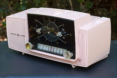 GE General Electric Mod C-416C Pink Clock Tube Radio from 1958 Recently Serviced