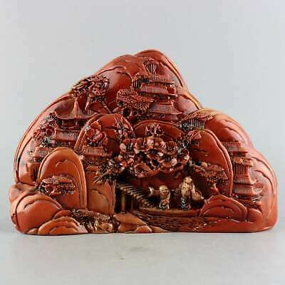 Collectable China Old Shoushan Stone Hand Carve Figure & Scenery Vivid Statue