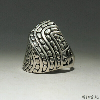 Collectable China Old Miao Silver Hand-Carved Delicate Precious Decorate Ring