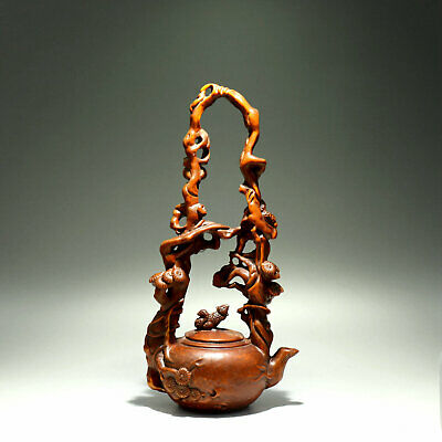 Collectable Old Boxwood Hand-Carved Lovely Squirrel & Tree Branch Tea Pot Statue