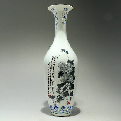 Collectable China Old Porcelain Hand Paint Bloomy Flower Delicate Unique Vase