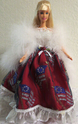 2 pc. OOAK GOWN for BARBIE ~ 4th of July PATRIOTIC SPARKLE FLAG GOWN & WHITE BOA