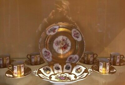 1 Antique Gold Plate 6Coffee Cups/Saucers+Gold Bonbon Dish Sold Together.matches