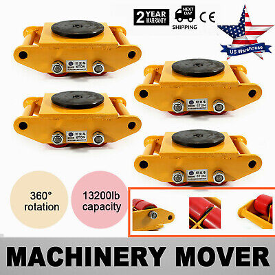 4Pcs Heavy Duty Machine Dolly Skate Machinery Roller Mover Cargo Trolley 6 Ton
