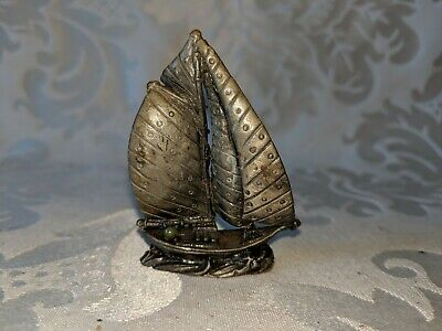 Vintage Small miniature  Boat Cast Iron or Bronze? figure sculpture