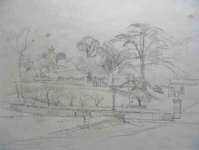 John Aldridge - 'Italian Garden'- Original Pencil Drawing by Listed Artist.