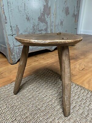 "Antique Three Leg Milking Stool Primitive Hand Made Hewn Wood 13"" Tallx12"" Wide"