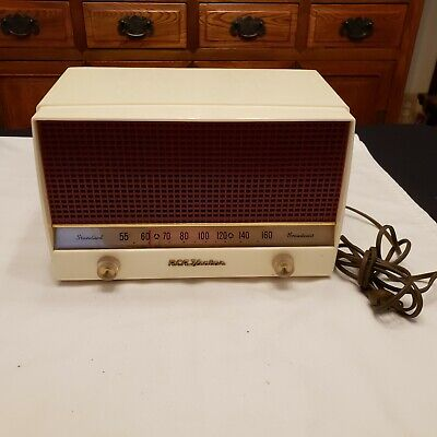 1950's Vintage RETRO RCA VICTOR RADIO #4-X-646 IVORY & RED ~ NICE ~ WORKS!