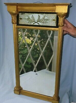 ANTIQUE REGENCY GILTWOOD PIER GLASS MIRROR with VERRE EGLOMISE PANEL