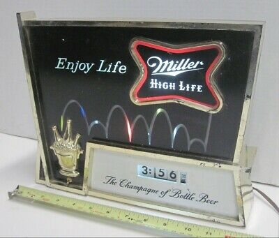 Vintage 1960's Miller High Life Beer Bouncing Ball Lighted Motion Clock Sign red