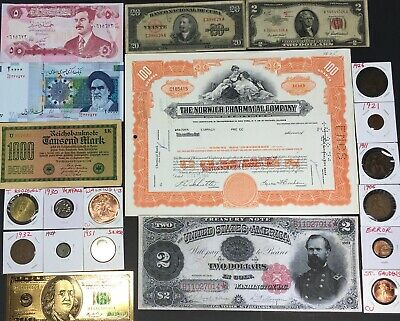 ~Lot Fascinating Us / World Coins Currency Gold Silver Copper Error Stock Estate