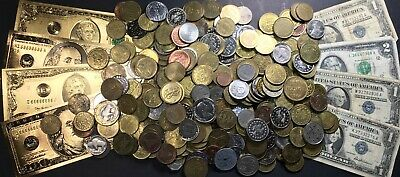 ~ 3 Lb. Lot Of Fascinating Estate Us / World Coins Currency Gold Tokens Copper