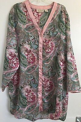 Victoria's Secret Vintage Pink Paisley Satin Nightdress/Shirt Lingerie Small Pet