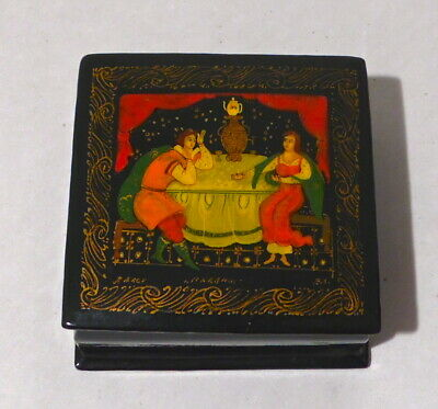 Vintage Hand Painted & Signed Russian Black Lacquer Box W/ A Prince & Princess
