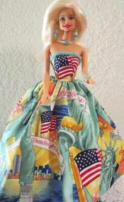 4 pc. OOAK for BARBIE ~ 4th of July STATUE of LIBERTY GOWN + SHOES & JEWELRY