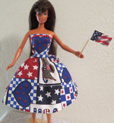 5 pcs. OOAK for BARBIE ~ 4th of July PATRIOTIC DRESS + SHOES & JEWELRY