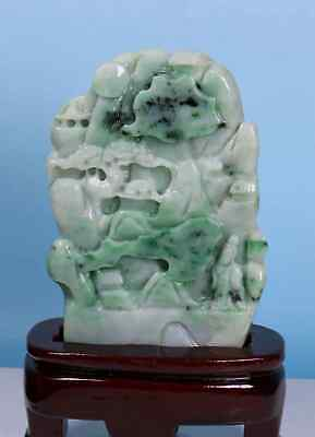 Certified   green  Natural A Jade Jadeite Landscape and Chinese Immortals 3037