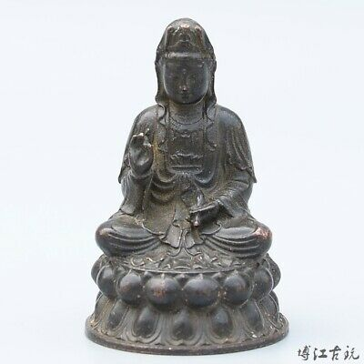 Collectable China Old Red Copper Hand-Carved Kwan-Yin Buddhism Decorate Statue