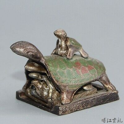 Collectable Old Cloisonne Hand-Carved Tortoise Five Layers Delicate Seal Statue