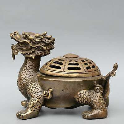 Collectable China Old Bronze Hand-Carved Myth Dragon Turtle Auspicious Censer