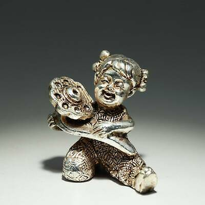 Collectable China Old Miao Silver Hand-Carved Fairchild Moral Auspicious Statue