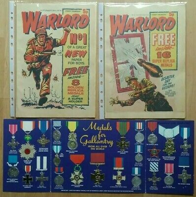 Warlord Comic #1 #2  With Free Gift For Valour Medals Complete Book  Rare 1974