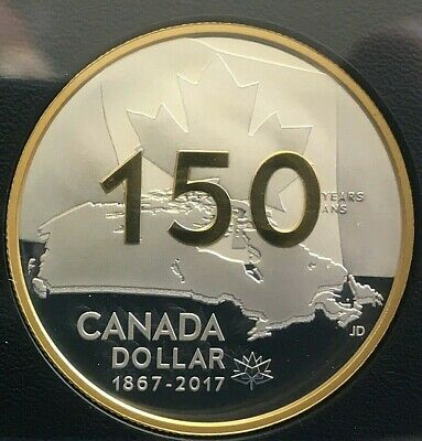 Canada 2017  Proof 150Th $1 Gold Plated   Silver Dollar Coin From The Collection