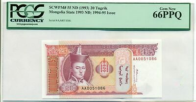 Mongolia 1993 20 Tugrik Bank Note Gem New 66 PPQ PCGS Currency