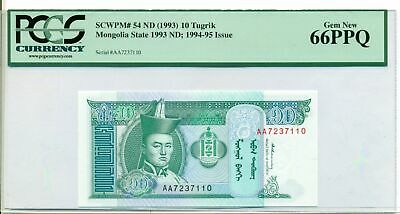 Mongolia 1994-95 10 Tugrik Bank Note Gem New 66 PPQ PCGS Currency