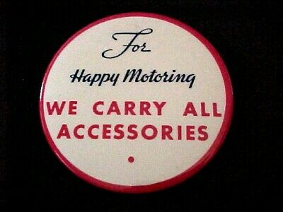 Vintage ESSO button pin For Happy Motoring We Carry All Accessories