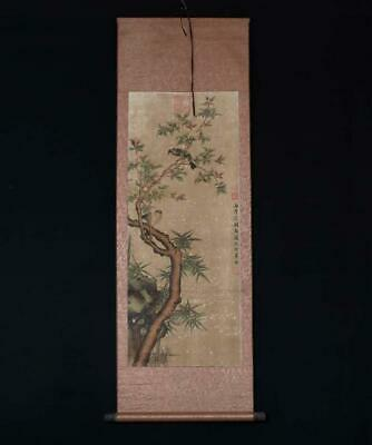 Rare Chinese Hand-painting Wall Scroll Shen Quan Marked With Birds