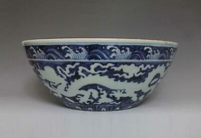 Large Antique Chinese Porcelain Blue and White Bowl Xuande Marked-dragon