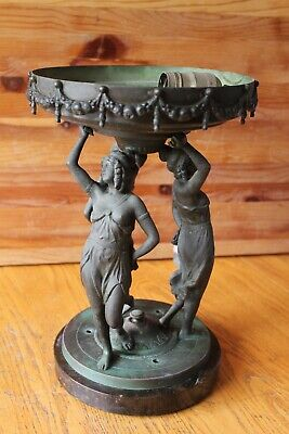 Antique Bronze Marble Sculpture Finial 3 Women Lamp Newel Post Stairway Vintage