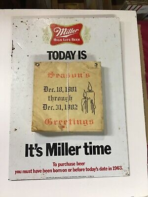 Vintage Miller High Life Beer Metal/Tin Sign, With 1982 Calendar, Pre-Owned,