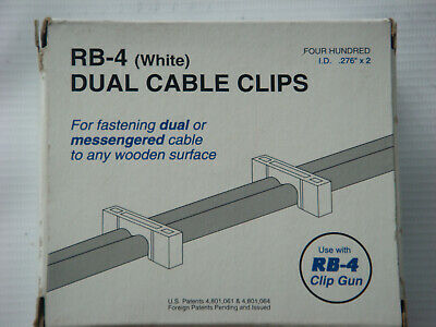 (1) 400 count box of Telecrafter RB-4 Dual Cable Clips/Staples, White (66WS)