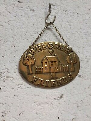 "Vintage Solid Brass ""Welcome Friends"" Hanging Front Door Plaque"