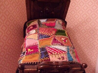 Antique LOOK  Dollhouse Miniature  CRAZY  QUILT,  Embroidery, Fabric,  Handmade