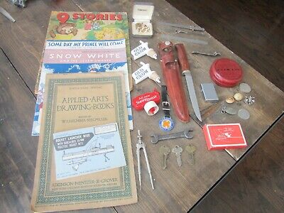 Assorted Junk Drawer Lot Coins Tokens Buttons Ephemera Disney Vintage Tools Keys