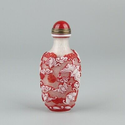 Chinese Exquisite Handmade bat Carving Glass snuff bottle